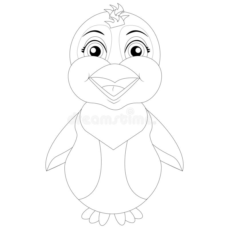 Vector coloring page penguin stock illustration