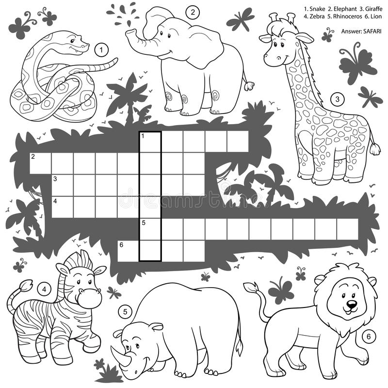 Vector colorless crossword, education game about safari animals. Vector colorless crossword, education game for children about safari animals vector illustration
