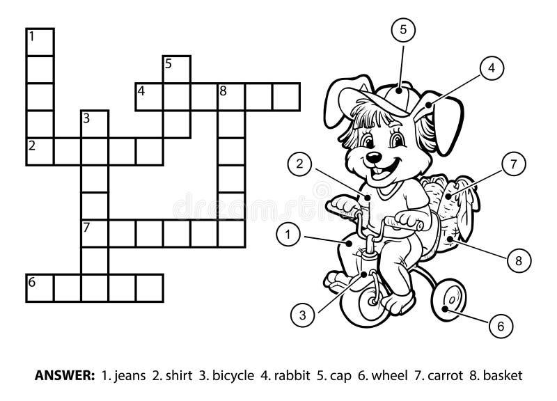 Vector colorless crossword. Little rabbit riding a bicycle. Vector colorless crossword, education game for children. Little rabbit riding a bicycle royalty free illustration