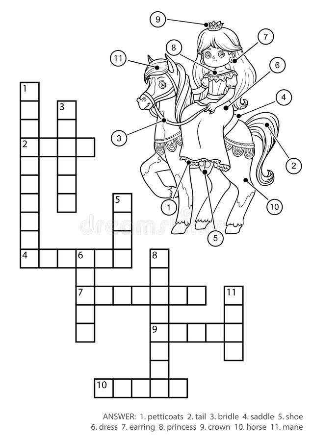 Vector colorless crossword. Princess and horse. Vector colorless crossword, education game for children. Princess and horse royalty free illustration
