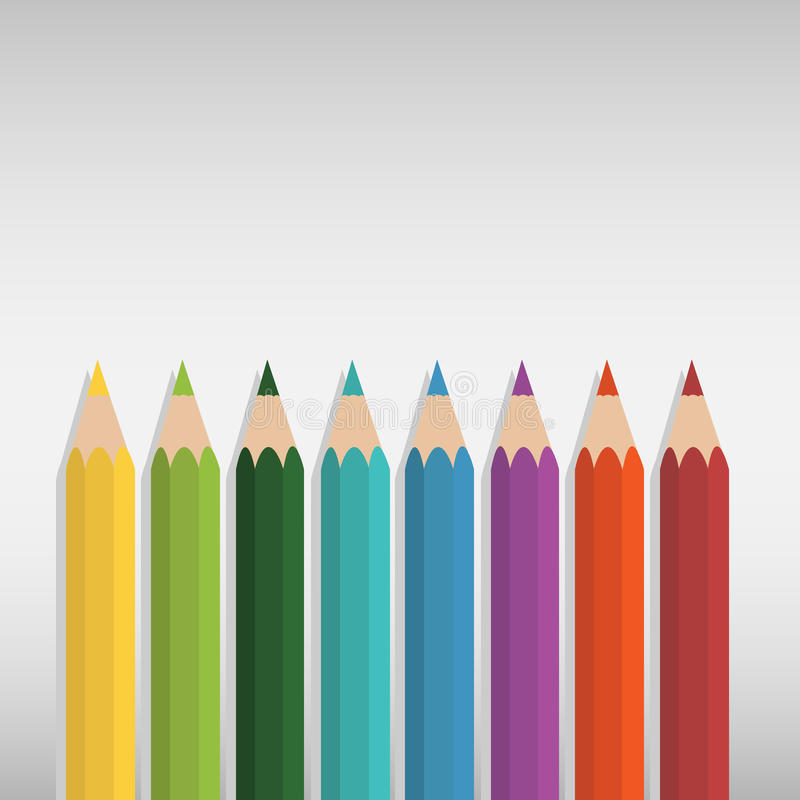 Vector of coloured pencil set stock illustration