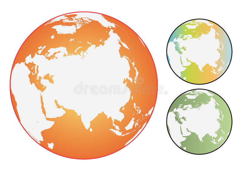 Vector coloured world globes. A set of three vector globes in various colors on a white background stock illustration