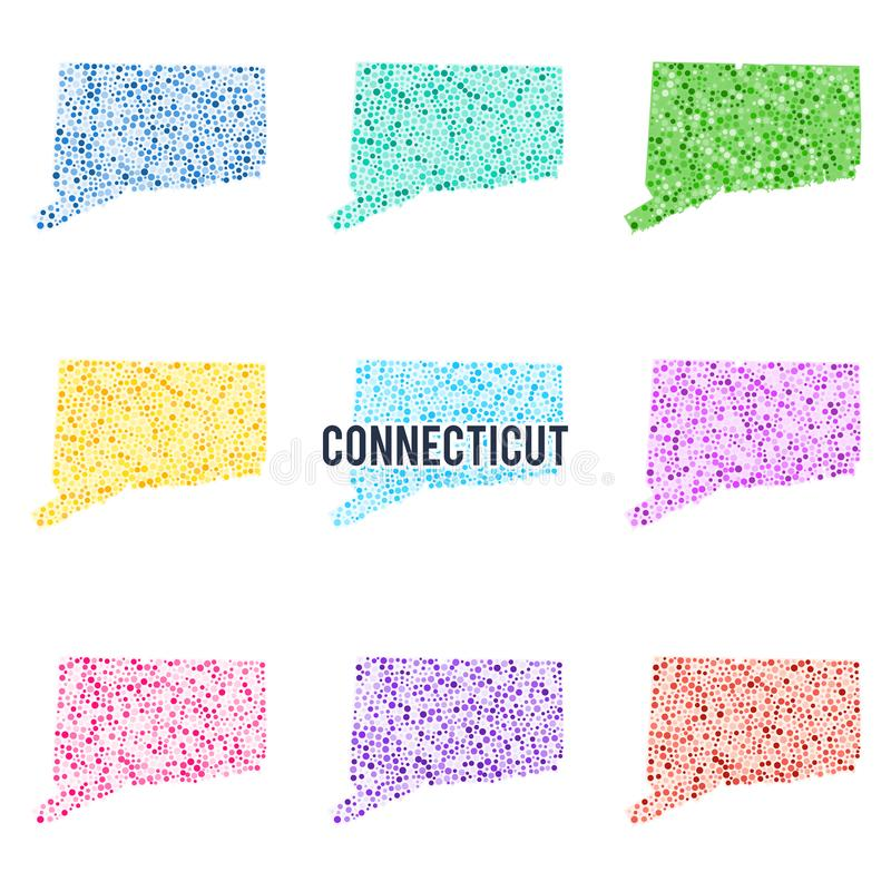 Vector colourful dotted map of the state of Connecticut. Set of different color solutions vector illustration