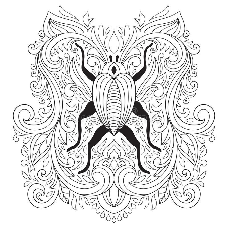 Vector Colouring Pages. Floral Composition with bug royalty free illustration