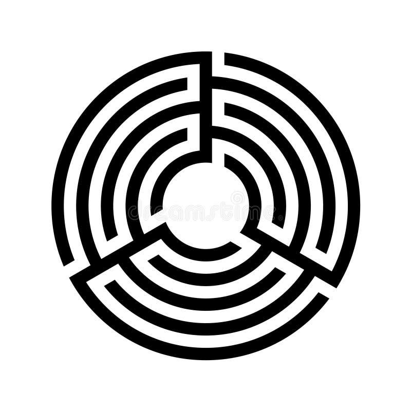 Vector común, icono redondo del laberinto Diseño plano Vector común Laberinto triple, laberinto libre illustration
