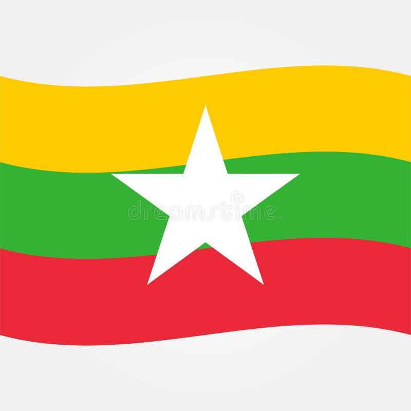 Vector común myanmar o icono 2 de la bandera de Birmania ilustración del vector