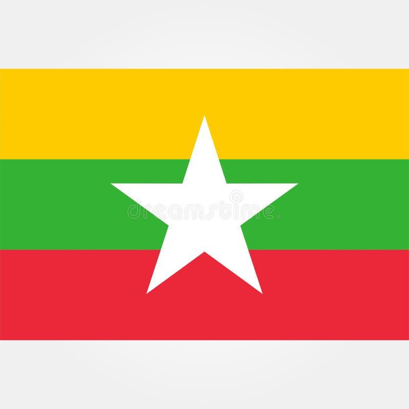 Vector común myanmar o icono 1 de la bandera de Birmania ilustración del vector