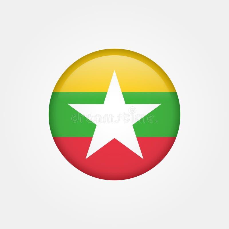 Vector común myanmar o icono 5 de la bandera de Birmania stock de ilustración