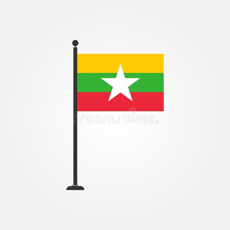 Vector común myanmar o icono 3 de la bandera de Birmania stock de ilustración