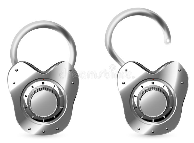 Vector combination lock stock illustration