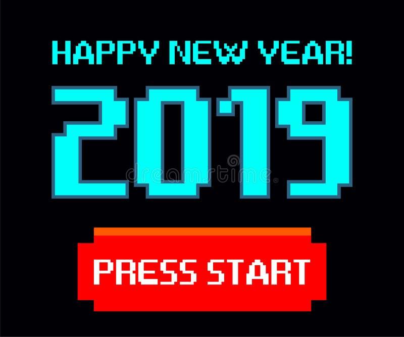 Vector 2019, começo, ano novo feliz, jogo, pixel ilustração stock