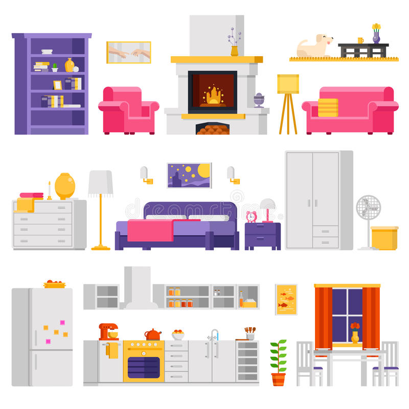 Vector comfortabele binnenlandse reeks meubilair en ruimteelementen in vlak ontwerp voor infographic ontwerp en banners royalty-vrije illustratie