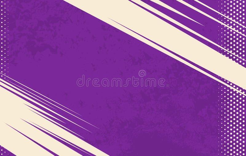 Vector Comic Book Background. Grunge halftone background. Violet striped backdrop stock illustration