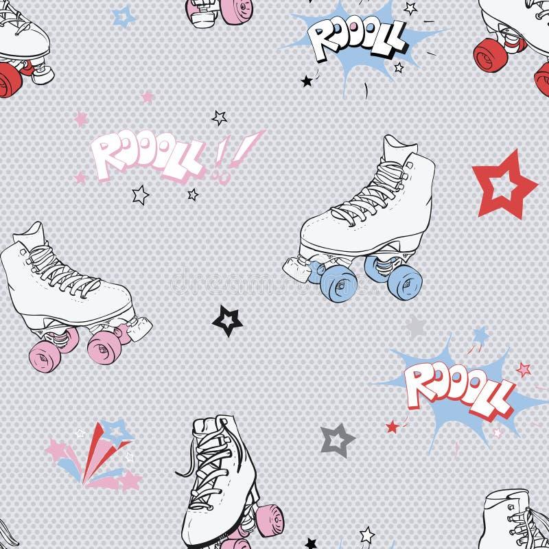 Vector Comic Roller Skates seamless pattern background. stock illustration