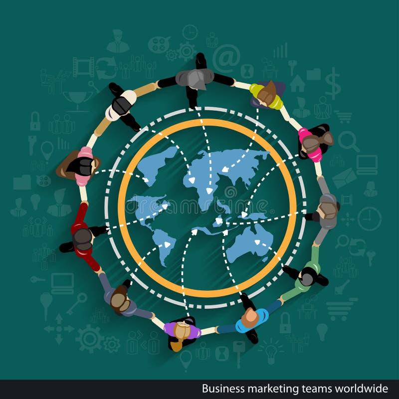 Vector Commerciële op de markt brengende teams wereldwijd vector illustratie