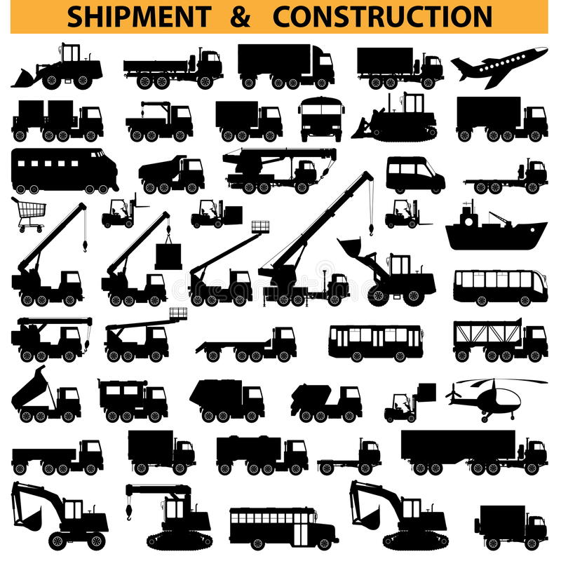 Vector commercial vehicles pictograms vector illustration