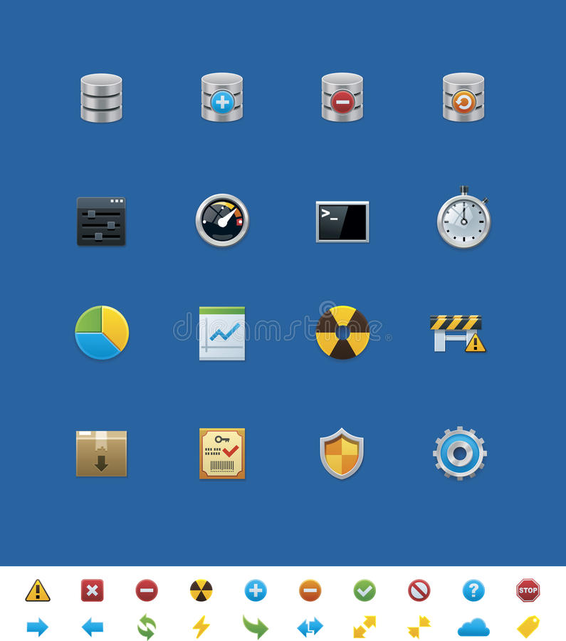 Vector common website icons. Database vector illustration