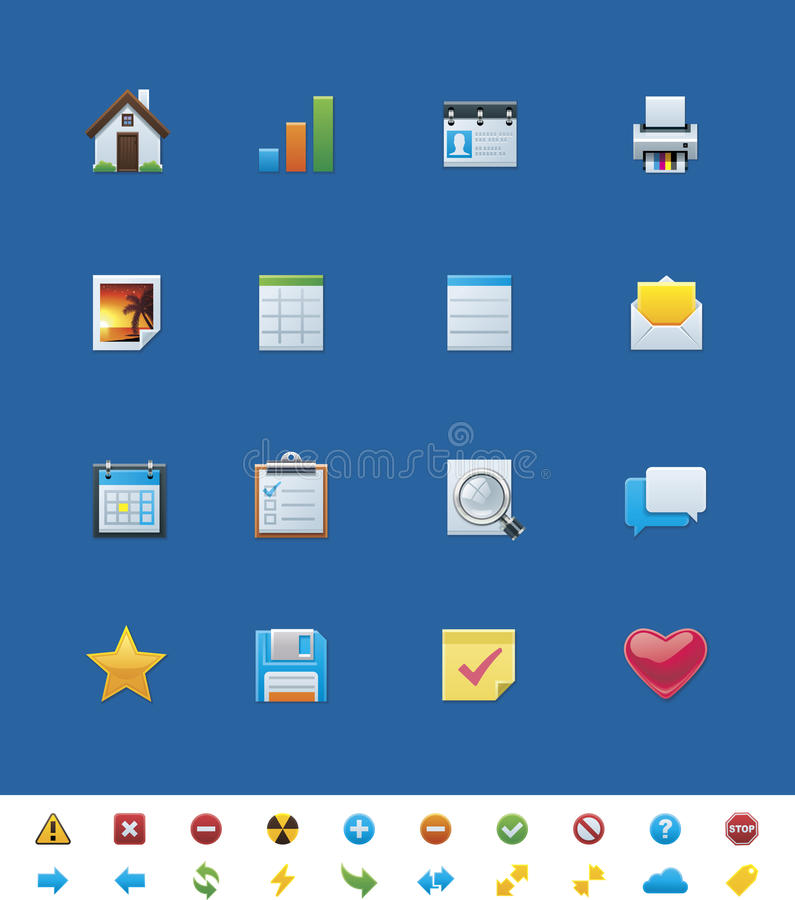 Vector common website icons for webmasters royalty free illustration