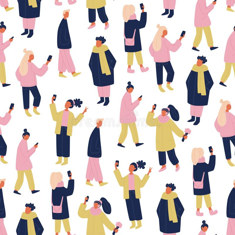Vector communicating people seamless pattern in pink, yellow and blue. vector repeating tile with people and phones taking selfie. stock illustration