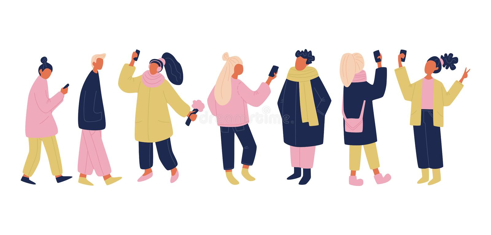 Vector communicating people set in pink, yellow and blue colors. isolated vector people with phones and gadgets taking selfies. stock illustration