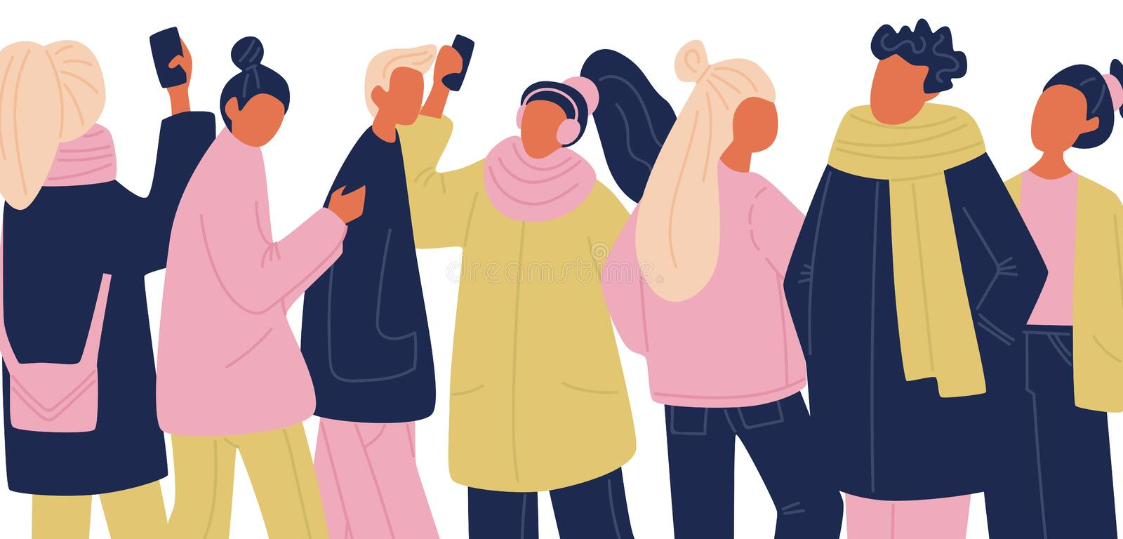 Vector communicating portrait of people set in pink, yellow and blue colors. flat vector people with phones taking selfies. vector illustration