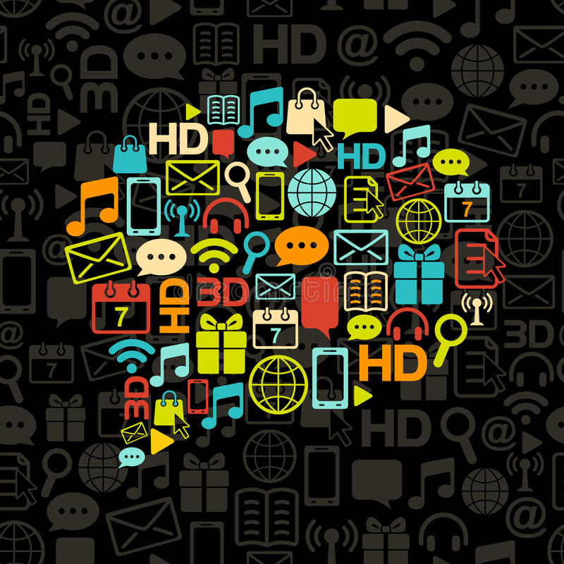 Vector communication bubble made from icons stock illustration