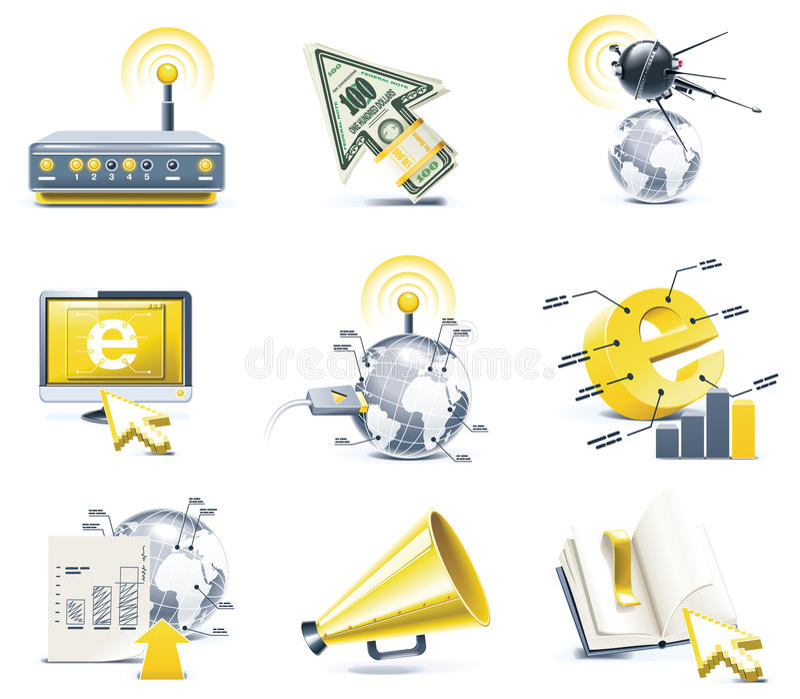 Vector communication icon set. Internet, part 1 vector illustration