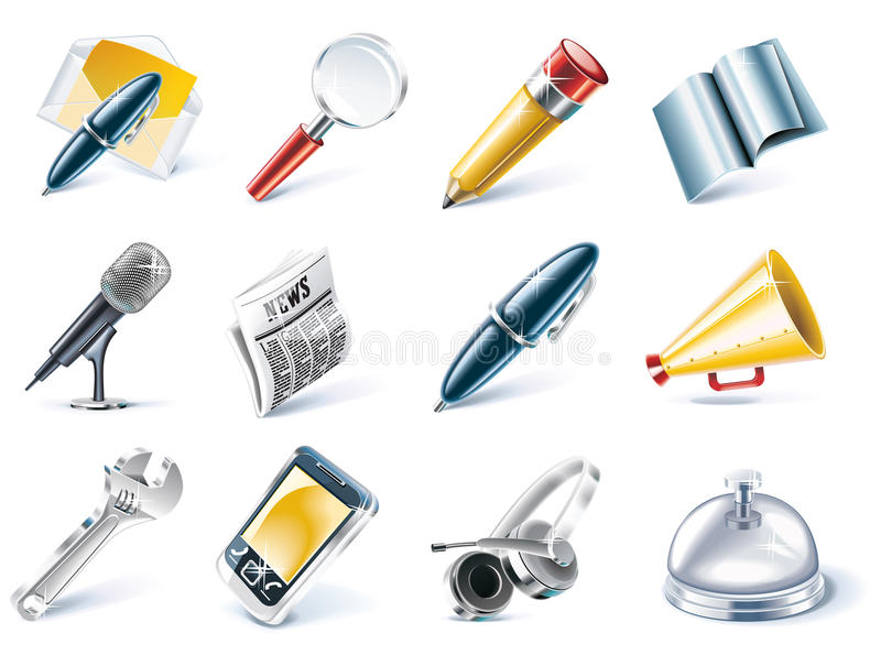 Vector communication and media icon set. Set of detailed communication icons