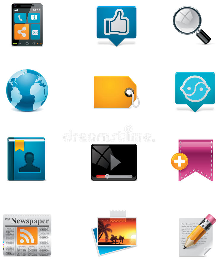 Vector communication and social media icon set. Pa. Set of the colorful communication and social media related icons