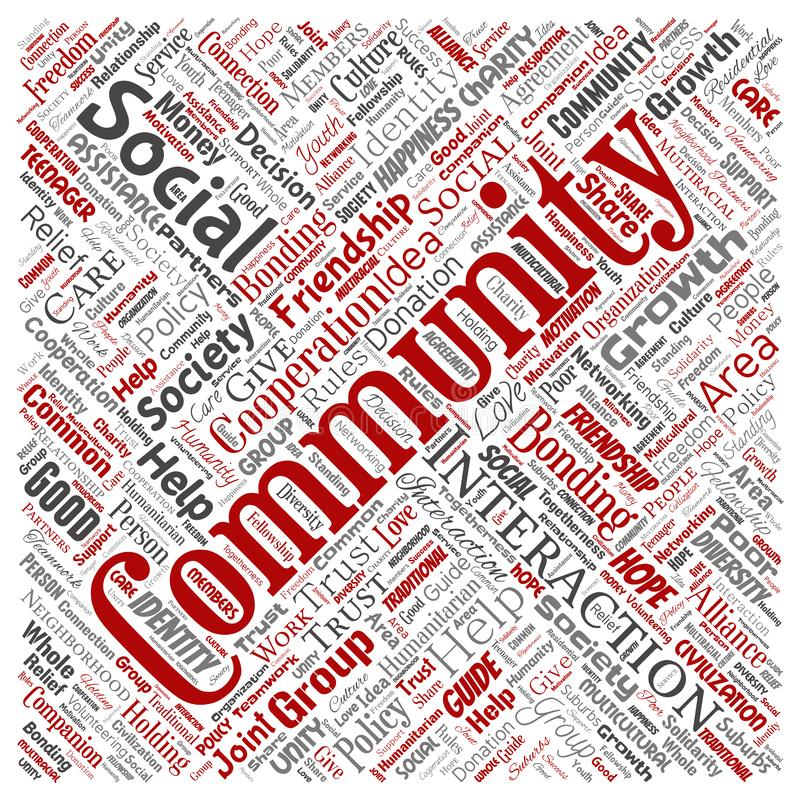 Vector community, social, connection. Vector conceptual community, social, connection square red word cloud isolated background. Collage of group, teamwork royalty free stock photography