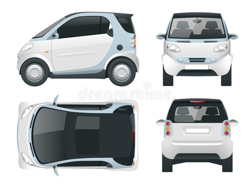 Vector compact smart car. Small Compact Hybrid Vehicle. stock illustration