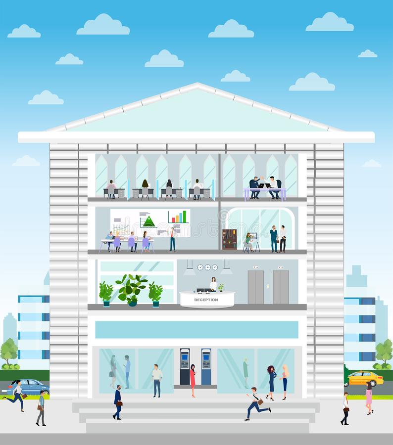 Vector of a company building with reception, office, conference room interiors and employees working inside vector illustration