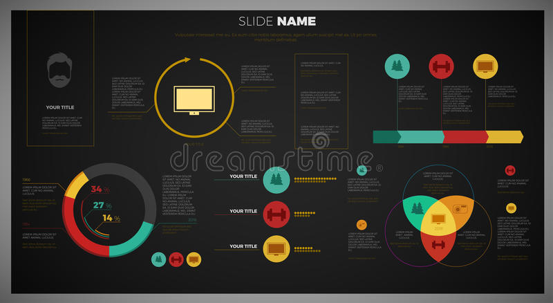 Vector Company infographic overview design template with network in the background - dark version vector illustration