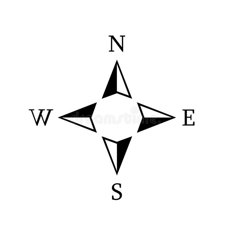 Vector compass rose with North, South, East and West indicated royalty free illustration