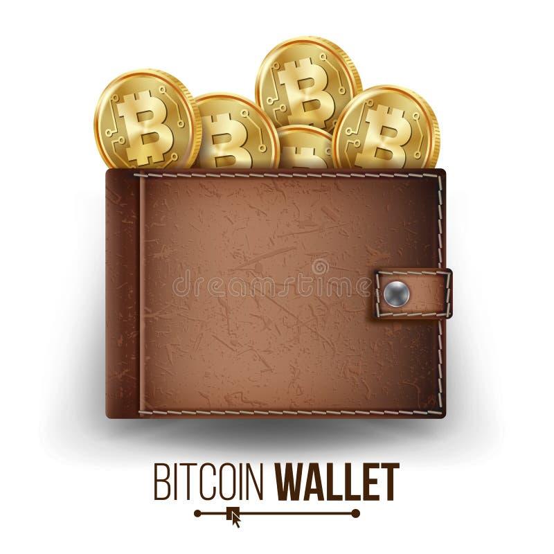 Vector completo de la cartera de Bitcoin Color de Brown Monedas de oro de Bitcoin Visión superior Pluma, lentes y gráficos Dinero libre illustration