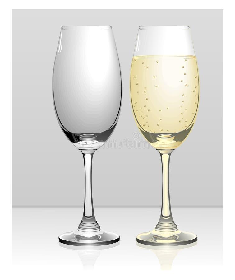 Vector completo y vacío de los vidrios del champán libre illustration