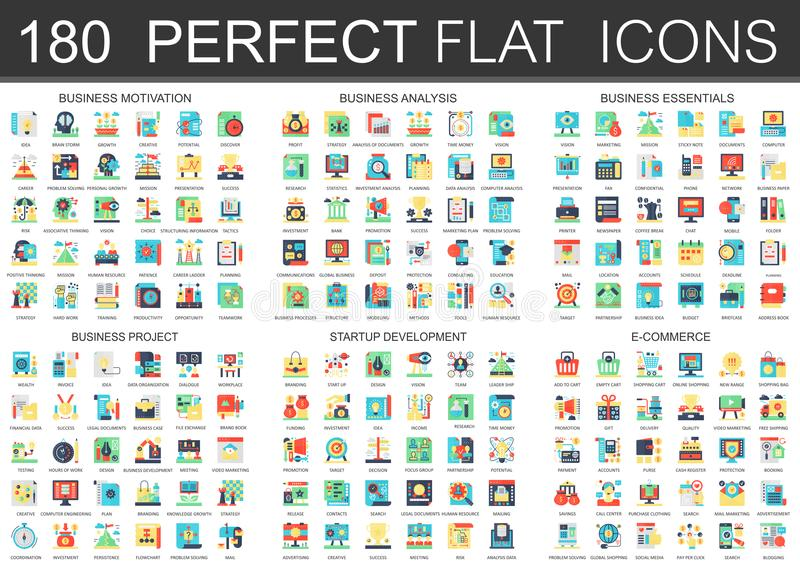 180 vector complex flat icons concept symbols of business motivation, analysis, essentials, business project, startup vector illustration