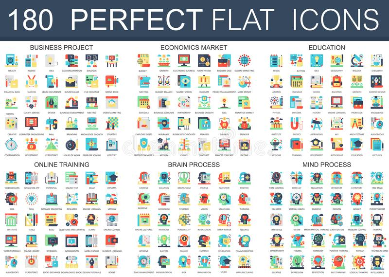 180 vector complex flat icons concept symbols of business project, economics market, education, online training, brain. Process, mind process. Web infographic stock illustration