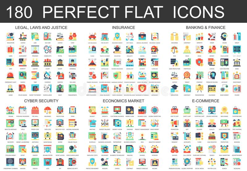 180 vector complex flat icons concept symbols of legal, laws and justice, insurance, banking finance, cyber security vector illustration