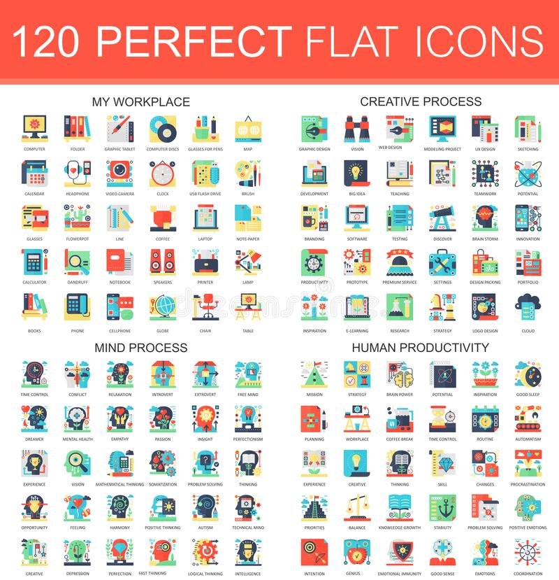 120 vector complex flat icons concept symbols of my workplace, creative process, mind process, human productivity. Web stock illustration