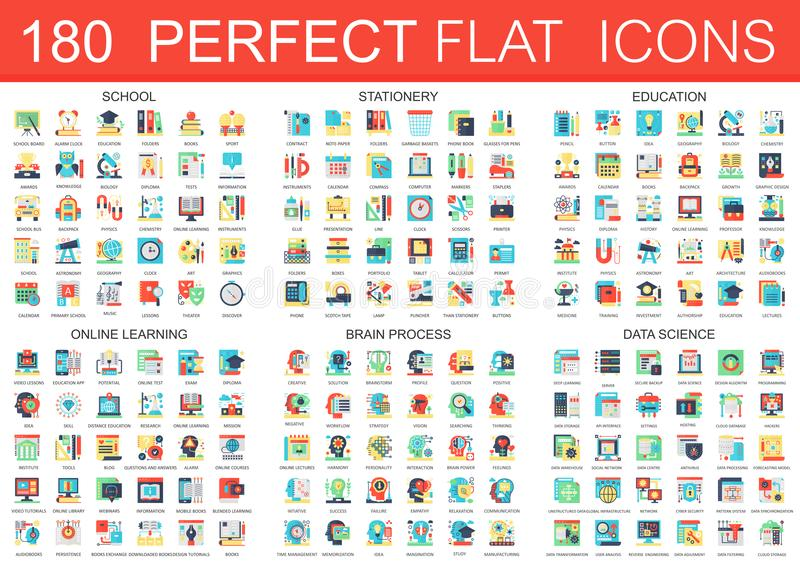 180 vector complex flat icons concept symbols of school, stationery, education, online learning, brain process, data vector illustration