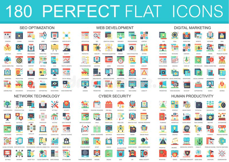 180 vector complex flat icons concept symbols of seo optimization, web development, digital marketing, network royalty free illustration
