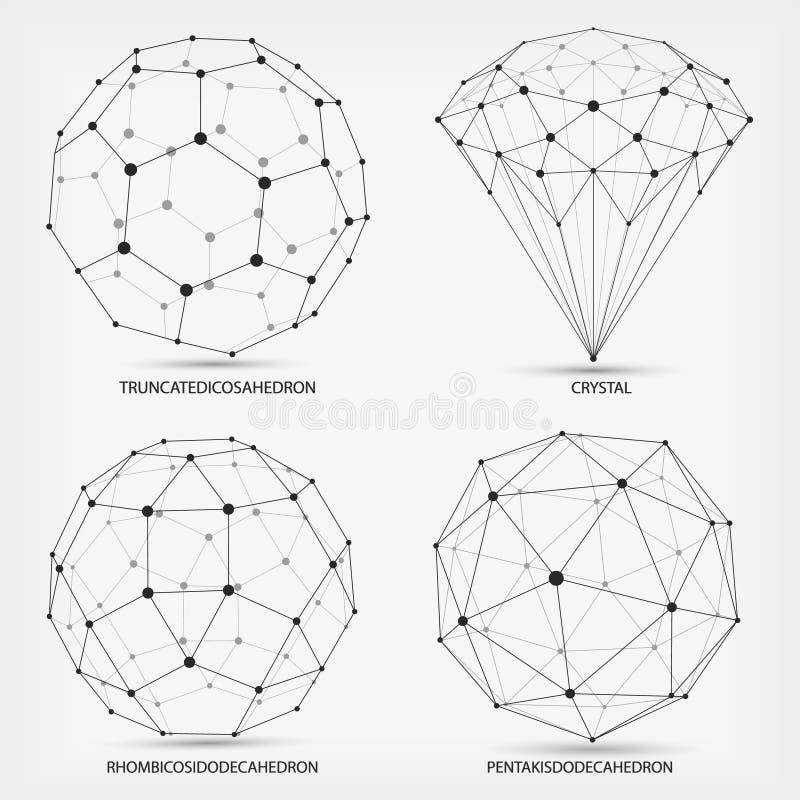 Vector Complexe geometrische vormen Diamant Abstracte geometrisch Een reeks documenten Het veelhoekige element van het Wireframen stock illustratie