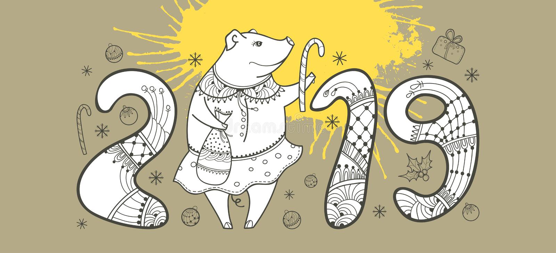 Vector a composição do porco feliz do esboço e da mancha amarela no fundo bege pastel Símbolo do ano novo chinês 2019 ilustração stock