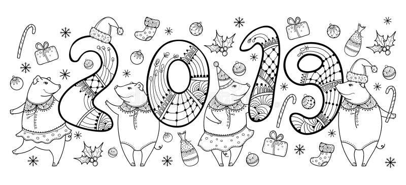 Vector a composição do porco feliz do preto do esboço isolado no fundo branco Símbolo do ano novo chinês 2019 no estilo do contor ilustração royalty free