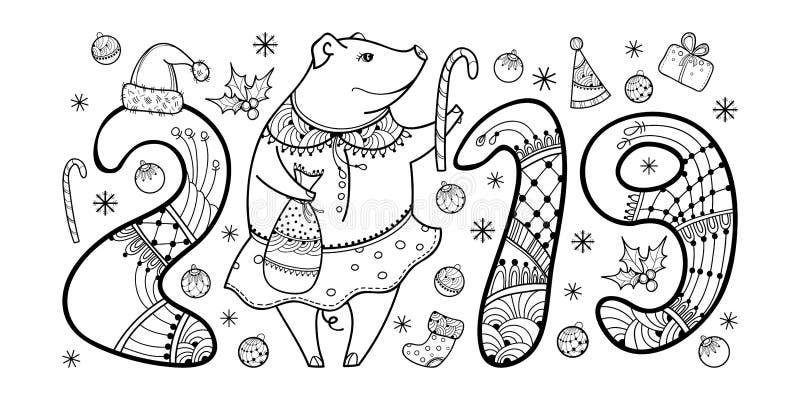 Vector a composição do porco feliz do preto do esboço isolado no fundo branco Símbolo do ano novo chinês 2019 no estilo do contor ilustração stock