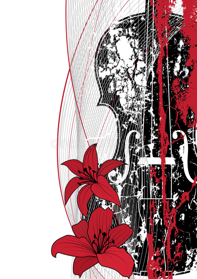 Vector a composição musical floral ilustração royalty free