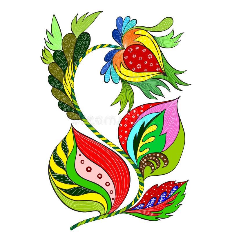 Vector Composición decorativa - Paisley en un fondo blanco Modelo en estilo étnico Composición de la flor Flores estilizadas Util ilustración del vector