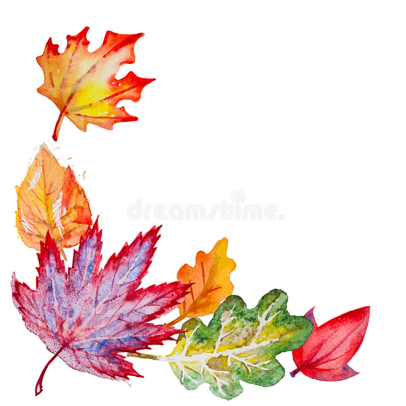 Vector composition with autumn leaves. Vector composition with bright hand drawn watercolor orange,yellow,green,red and vinous leaves on the white background vector illustration
