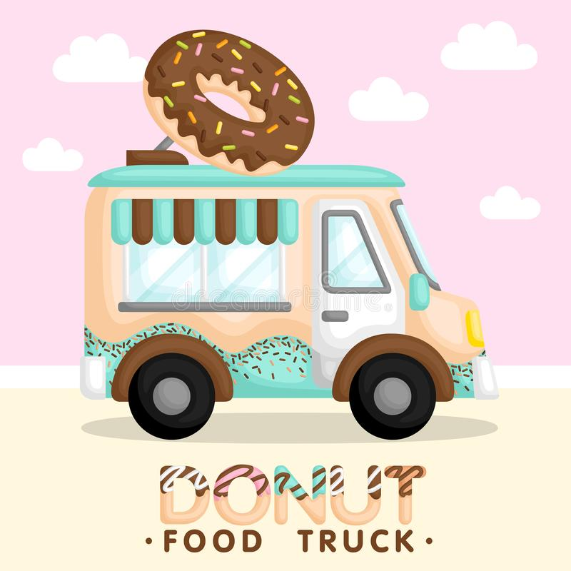 A Vector and Composition of Blue Food Truck Selling Donut. A Vector and Composition of Cute Blue Food Truck Selling Donut royalty free illustration